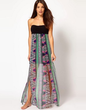 Image 1 ofRiver Island Rhoda Macrame Barbados Print Maxi Dress