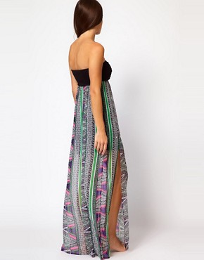 Image 2 ofRiver Island Rhoda Macrame Barbados Print Maxi Dress