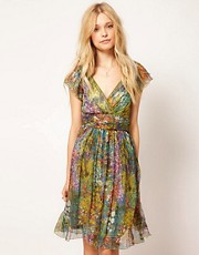 Traffic People Floral Silk Dress