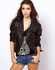 Chaqueta biker de cuero de ASOS