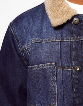 Image 3 ofASOS Denim Jacket With Borg Collar