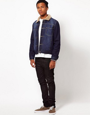Image 4 ofASOS Denim Jacket With Borg Collar