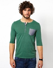 ASOS 3/4 Sleeve T-Shirt With Grandad Neck And Oxford Pocket