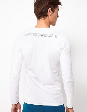 Image 2 ofEmporio Armani Stretch Cotton Crew Neck Long Sleeve Top