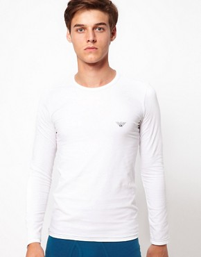 Image 1 ofEmporio Armani Stretch Cotton Crew Neck Long Sleeve Top