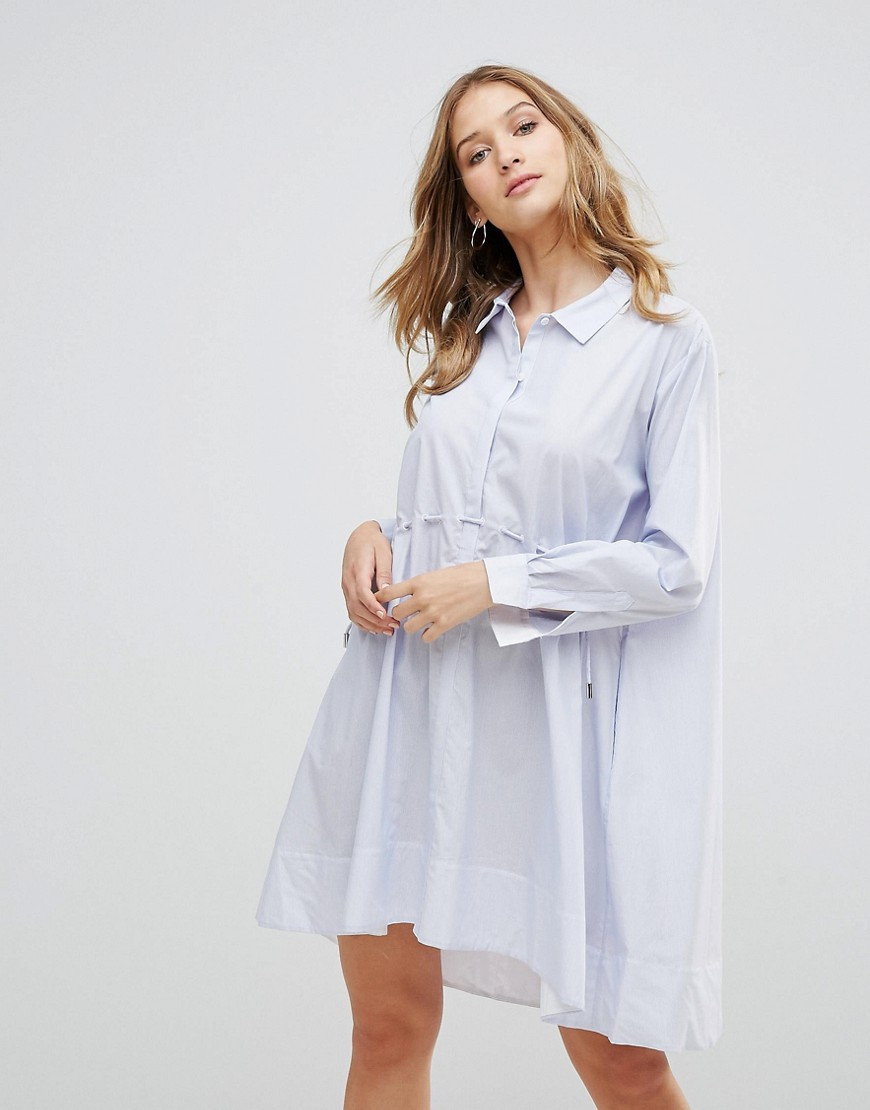 French Connection Smithson Stripe Shirt Dress - Salt water/smmrwht