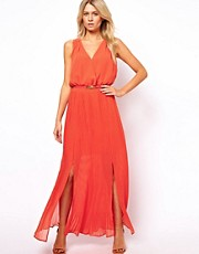 Oasis Maxi Pleat V-Neck Dress