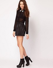 Vero Moda Leather Look Pleated Mini Skirt