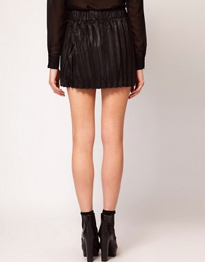 Image 2 ofVero Moda Leather Look Pleated Mini Skirt