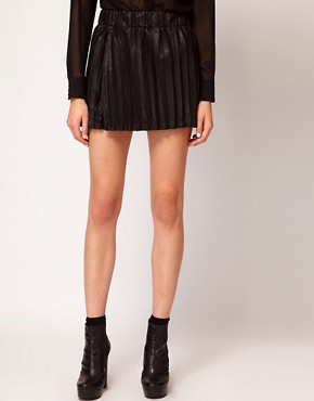 Image 4 ofVero Moda Leather Look Pleated Mini Skirt