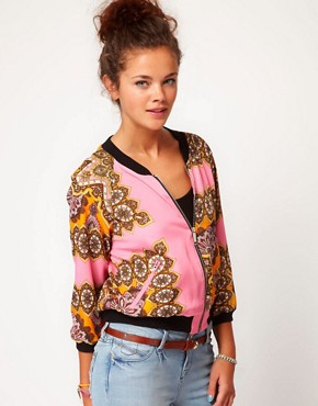 Image 1 ofRiver Island Scarf Print Bomber