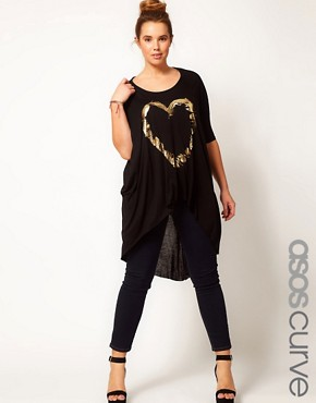Image 1 ofASOS CURVE Exclusive Dip Back Top With Foil Feather Heart