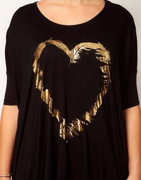 Image 3 ofASOS CURVE Exclusive Dip Back Top With Foil Feather Heart