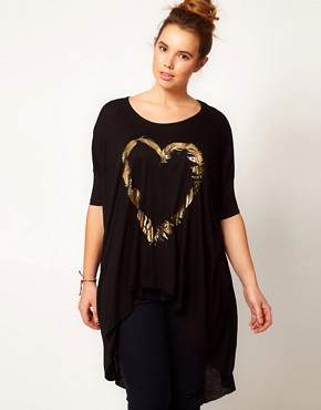 Image 4 ofASOS CURVE Exclusive Dip Back Top With Foil Feather Heart