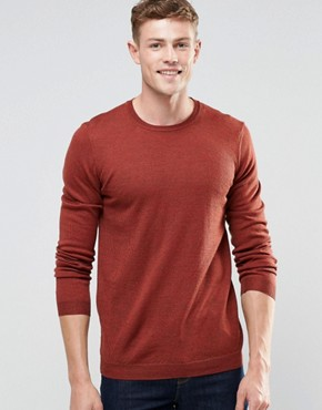 ASOS Merino Wool Crew Neck Jumper in Rust Twist