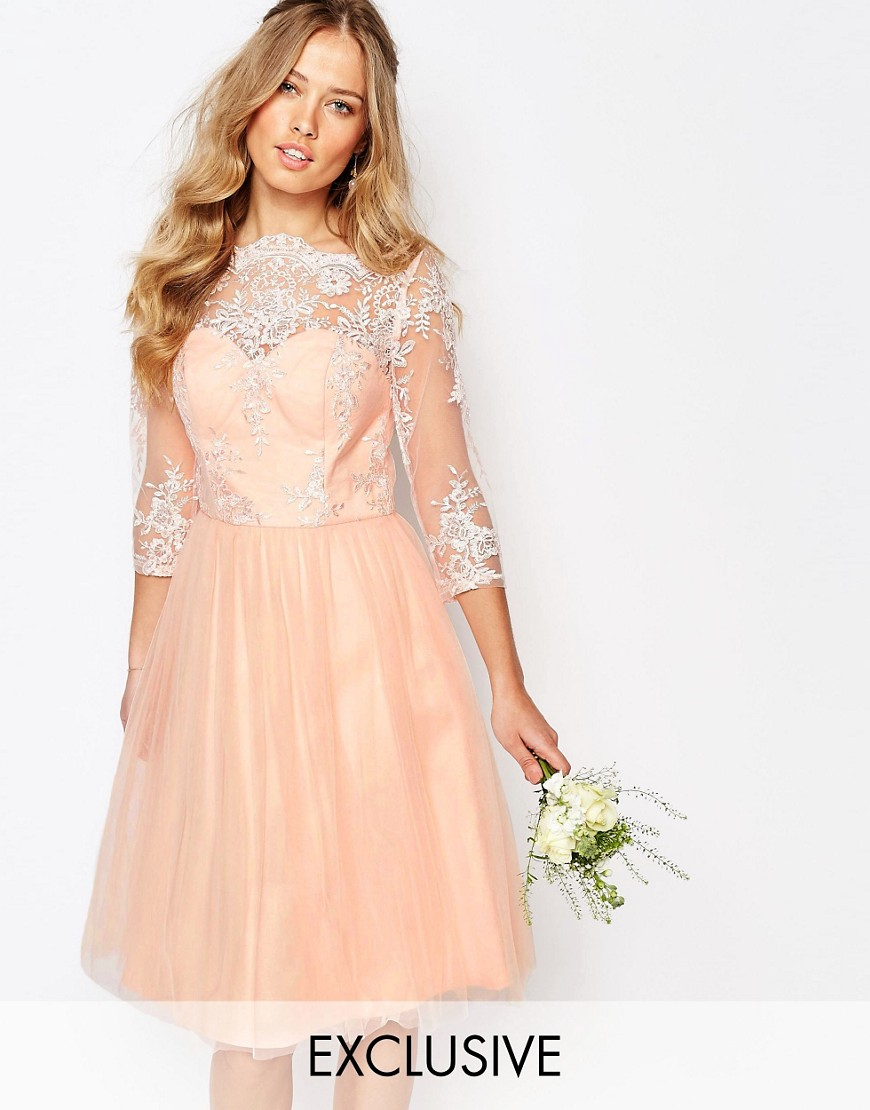 Chi Chi London Bardot Neck Midi Dress with Premium Lace and Tulle Skirt - Rose cloud $106.00 AT vintagedancer.com