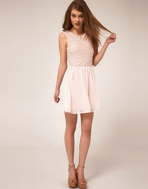 Image 4 ofASOS Skater Dress With Crochet Bodice