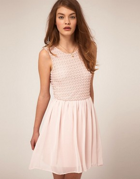 Image 1 ofASOS Skater Dress With Crochet Bodice