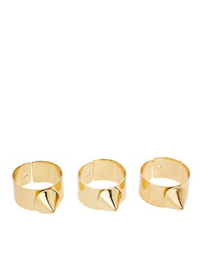 Image 1 ofASOS Adjustable Multipack Spike Band Rings