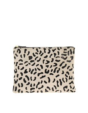 Image 1 ofASOS Leather Clutch Bag With Faux Pony Animal Print