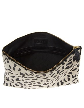 Image 2 ofASOS Leather Clutch Bag With Faux Pony Animal Print