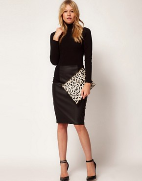 Image 3 ofASOS Leather Clutch Bag With Faux Pony Animal Print