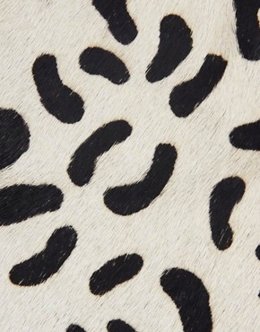 Image 4 ofASOS Leather Clutch Bag With Faux Pony Animal Print