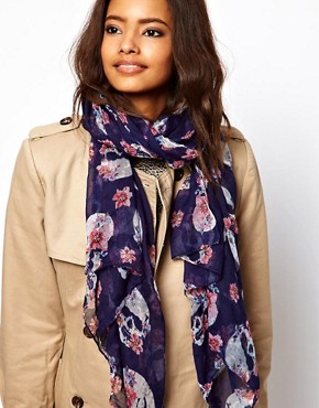 Image 1 ofASOS Skull And Floral Scarf