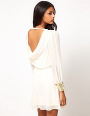 ASOS Cowl Back Dress with Embellished Cuff