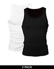 ASOS Rib Vest 2 Pack Black/White SAVE 2