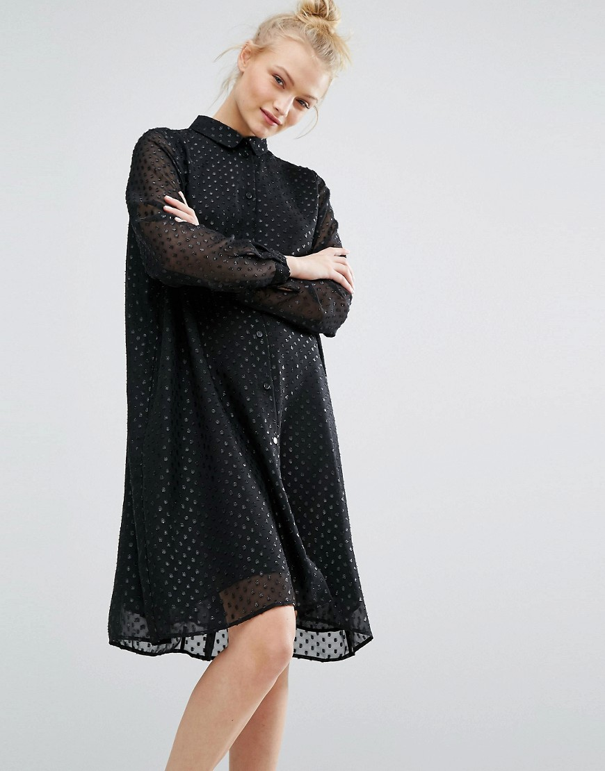 Monki Glitter Spot Smock Dress - Black