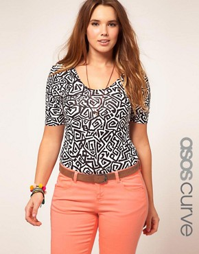 Bild 1 von ASOS CURVE  Exklusiver Jersey-Body mit Yokopop-Muster