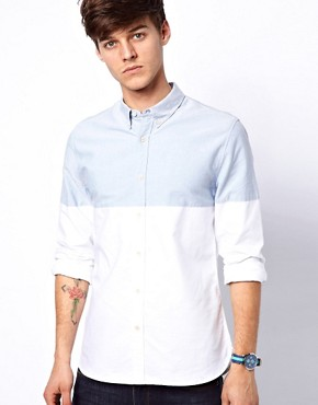 Image 1 ofASOS Oxford Shirt With Cut &amp; Sew
