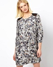 Edun Mesh Back Dress in Crosshatch Camo Print