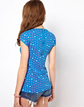 Image 2 ofA Wear Zip Back Tee In Lip Print