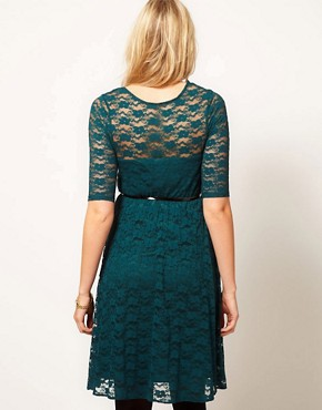Image 2 ofASOS Maternity Lace Skater Dress With 3/4 Sleeve
