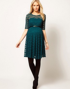 Image 4 ofASOS Maternity Lace Skater Dress With 3/4 Sleeve