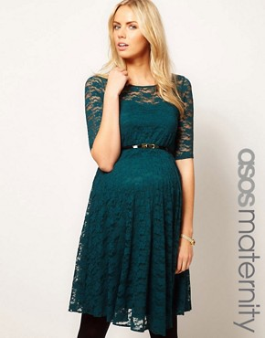 Image 1 ofASOS Maternity Lace Skater Dress With 3/4 Sleeve