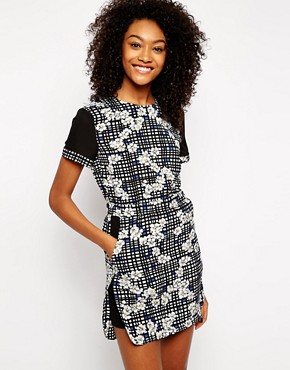 Influence Contrast Sleeve Printed Dress