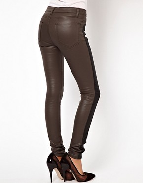 Image 2 ofASOS Coated Skinny Jean with Side Panel Detail