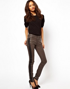 Image 4 ofASOS Coated Skinny Jean with Side Panel Detail