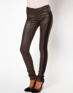 Image 1 ofASOS Coated Skinny Jean with Side Panel Detail