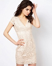 Lipsy Waxed Lace Pencil Dress