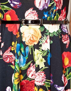 Image 3 ofASOS PETITE Exclusive Floral Print Skater Dress With Belt