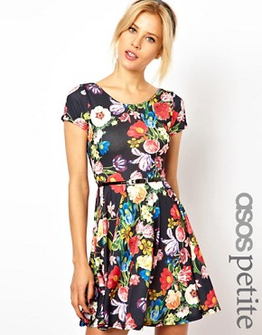 Image 1 ofASOS PETITE Exclusive Floral Print Skater Dress With Belt