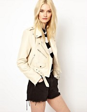 HIDE Freja Leather Biker Jacket in Cream