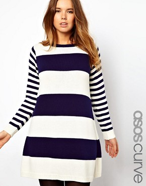 Image 1 ofASOS CURVE Exclusive Knitted Swing Dress in Stripe
