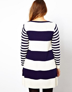 Image 2 ofASOS CURVE Exclusive Knitted Swing Dress in Stripe