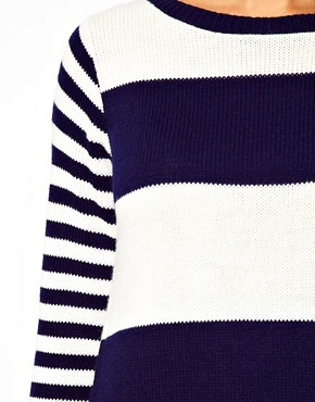 Image 3 ofASOS CURVE Exclusive Knitted Swing Dress in Stripe