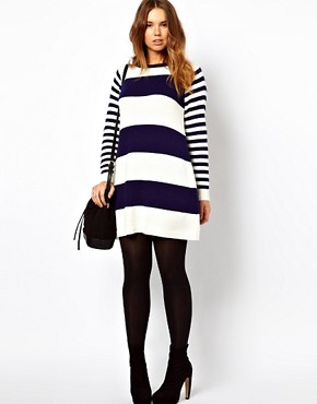 Image 4 ofASOS CURVE Exclusive Knitted Swing Dress in Stripe